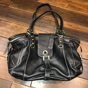 Women's black leather aqua madonna purse